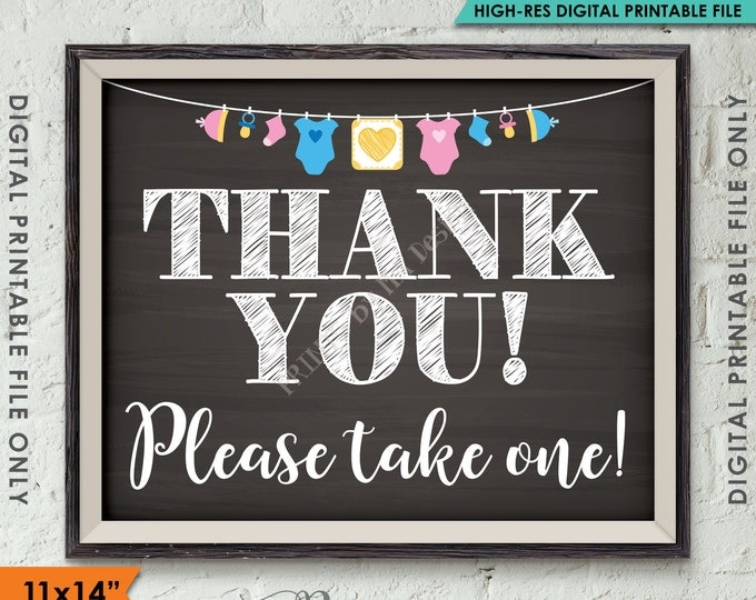 Thank You Sign, Thank You Please Take One Baby Shower Favors, Neutral Clothesline, Instant Download 8x10/16x20 Chalkboard Style Printable