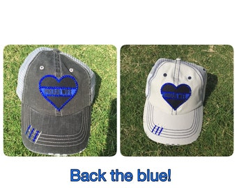 "Blue line bling hat ""proud wife"" police/law enforcement"