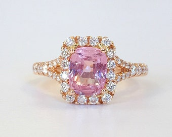 1.78ct Cushion Cut Pink Sapphire with Diamond Halo in 18K Rose Gold