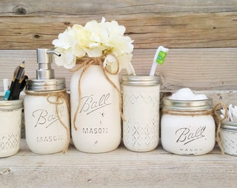 mason jar bathroom set white mason jar bathroom decor mason jar bathroom - Bathroom Jar