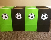 Soccer favor bags, set of 12! Bag color & sport can be customized!