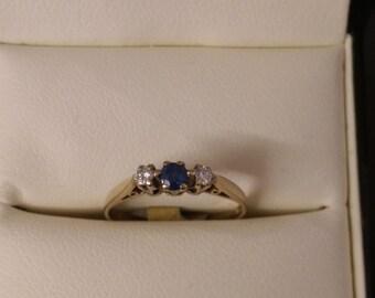 9ct Sapphire & Diamond Ring SIze K