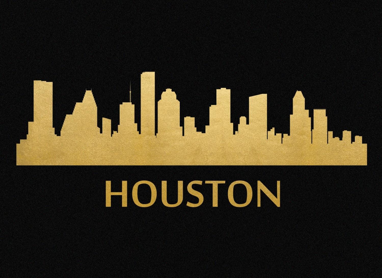 Houston Skyline Gold Foil Print 8x11