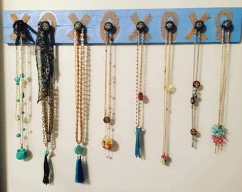 Jewelry  holder organizer bracelets necklaces burlap