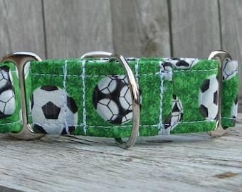Soccer Martingale Dog Collar,  Soccer Ball Collar, Martingale Collar for Soccer Season, 1 Inch Martingale, 2 Inch Martingale