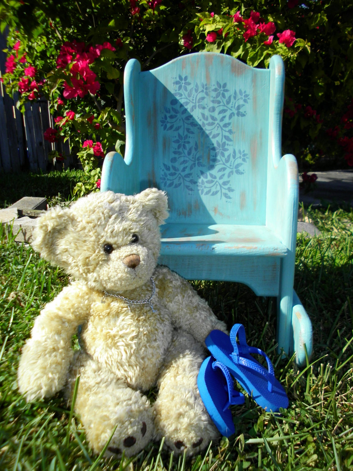 Hand Crafted Wooden Child Rocker Distressed