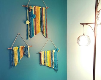 Yarn Wall Hangings, set of three