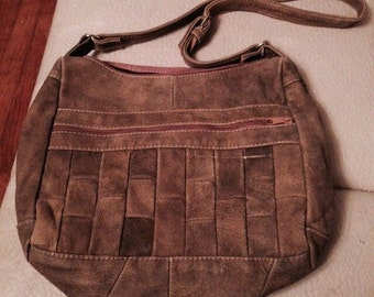SALE** Olive Green Leather Woven  Bag