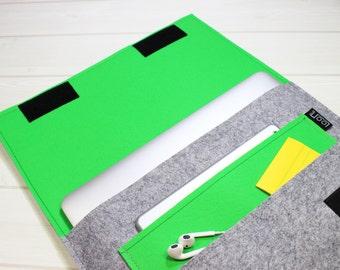 Macbook case, felt laptop sleeve, Grey laptop case, Macbook Air case, Unique laptop sleeve, 13 laptop case, Unique Gift, laptop case