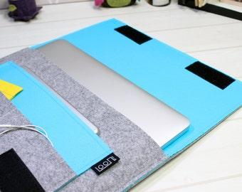 Simple laptop sleeve, 13 inch laptop case, minimal laptop pouch, blue laptop sleeve, felt laptop sleeve, gray laptop case, Macbook Air case