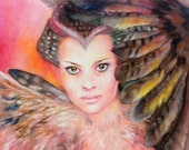 Giclee 8x10in, А4,A3, medium, large PRINT, winged woman,high quality,  Art Print,  gift for loved ones