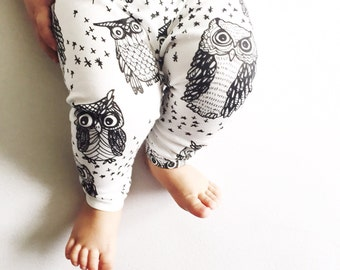 Baby legging owls / uilen - organic cotton black and white