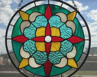 Custom made stained glass round victorian panel