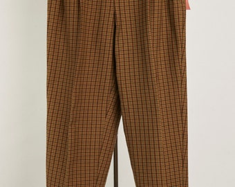 Vtg With Tags! 4 S Pleated Stirrups Pants Leggings Brown Plaid Ultra high Waist Preppy Grunge Elastic back