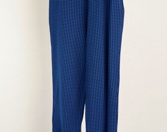 Vtg STIRRUP 5P S Pants High Waist Rise Blue and Black Checker