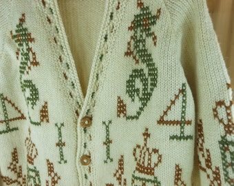 Hand Knit Sweater Ivory Wool Seahorse Design