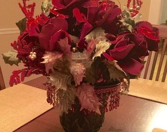 Handmade Red Velvet Flower Arrangement