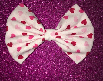 White with pink and red hearts bow