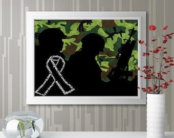 "Personalized ""Military Ribbon"" Wall Art"