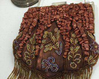 Beaded Art Handbag, Rust and Gold