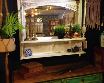 Old white mantel mirror with 2 shelves-great wall feature