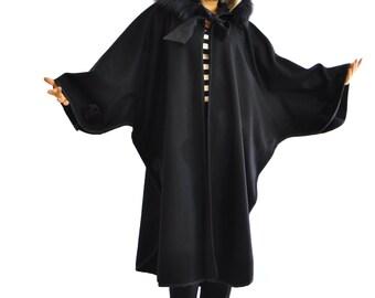 Black wool cape/Long wool Hooded coat/Winter cape/Hooded maxi cape/Fur fox hood/Maxi cape/Oversize cape/Extravagant winter Wool cloack/C1320