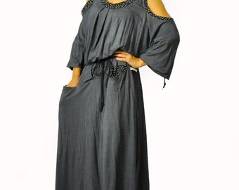 Maxi loose dress/Long Lycra oversize dress/Maxi casual gray dress/Plus size extravagant dress/Handmade dress/Woman dress with pockets/D1290