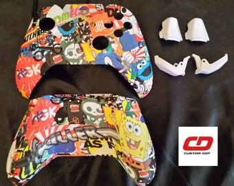 Xbox One Controller Shell Hydro Dipped Sticker Bomb