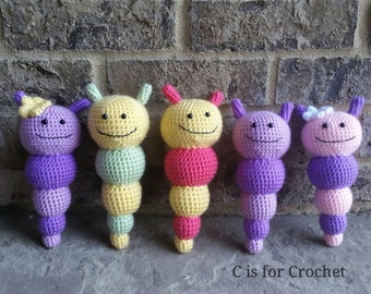 Caterpillar rattle, baby crochet rattle