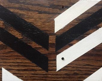 Handpainted Wood Board (Red Oak) -Chevron Black/White