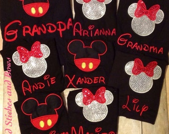 Custom embroidered disney shirt mickey or minnie mouse