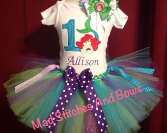 Custom embroidered little mermaid birthday shirt tutu outfit with bow