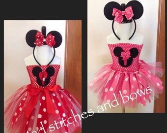 Hand made tutu red or pink Minnie Mouse costume or birthday outfit with ears