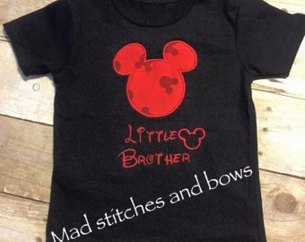 Custom embroidered Mickey Mouse little brother shirt