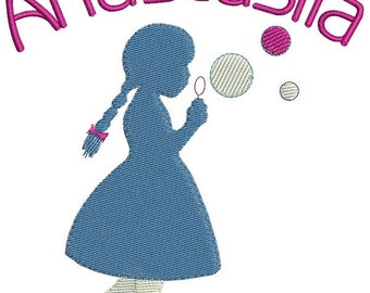 Silhouette Girl embroidery design