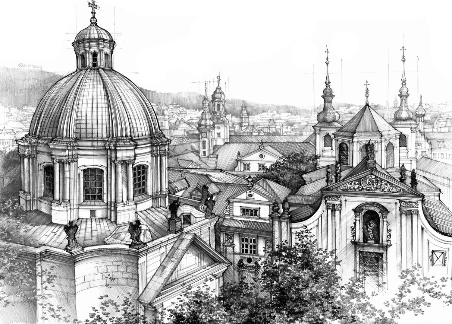 Architecture Drawing Pencil prague rooftops original drawingkatarzyna kmiecik / czech