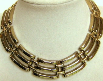 Heavy Gold Tone Three Row Geometric Collar