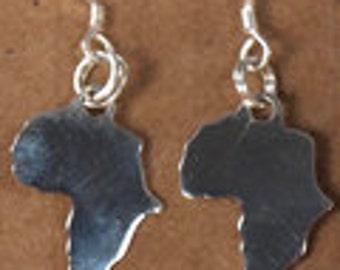 Silver Africa shaped earrings.