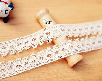 2 yards Cotton Lace Trim 20mm Retro Beige Cotton Ribbon Trim for Wedding Jewelry Crafts r25
