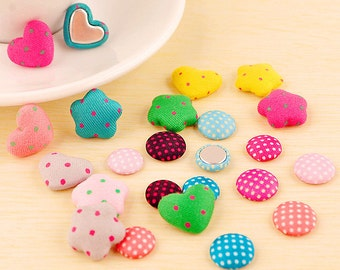 20pcs Assorted Fabric Buttons, Covered Buttons, Flat Back Buttons Round Heart Buttons Scrapbooking Embellishment b42