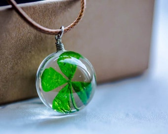 Four-leaf Clover Resin Pendant Necklace Sphere - Pressed Flowers encased in Resin Orb, Handmade Jewelry, Resin Necklace