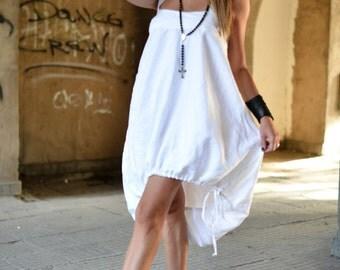 Handmade White Linen Dress, Oversize Linen Dress, Ladies Short Dress, White Dress Women, Summer Dress, Plus Size Dress, Loose Dress
