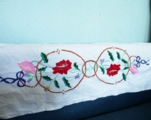 Embroidered Table Runner Vintage Ukrainian Towel Table Runner Centerpiece with Hand Embroidery Traditional Folk Art Holiday Runner