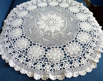 Vintage Crochet Table Cloth Very Pleasant Work Beige Russian Table Cloth Vintage from 1980s