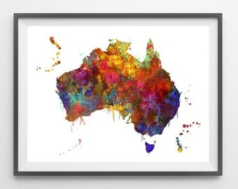 Australia map print colorful Australia watercolor poster  geography map art Australia illustration Wall Decor gift [103]