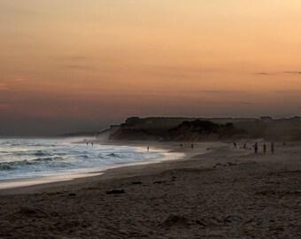 Beach Photo, Ditch Plains Montauk, Surfing Beach, Sunset Beach Photo, Surfers at Sunset, Wall Art, Home Decor, Dramatic Photo, Nature Photo