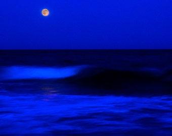 Full Moon Photo, Super Moon Waves Photo, Moon Scape Over Waves, Full Moon Over Beach, Wall Art, Home Decor, Dramatic Photo, Nature Photo