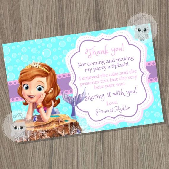 Sofia The First Thank You Card Princess Sofia Card Sofia Mermaid