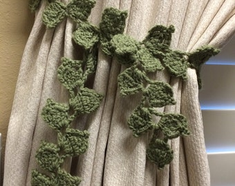 Crochet Curtain Tieback (1 pair) - sage green