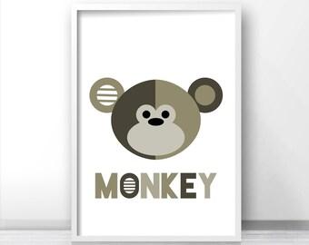 Monkey Kids Wall Art Print, Printable Kids Art, Animal Art, Kids Room Print,  Jungle Nursery Decor, Monkey Nursery Art,  Printable Kids Gift